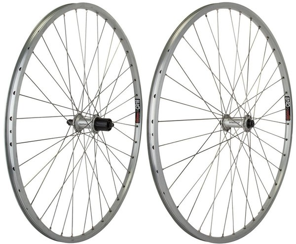 Harris Cyclery 700c Road Wheelset Sun CR18 Rims/RS400 Cassette Hub, 36 Spoke Silver