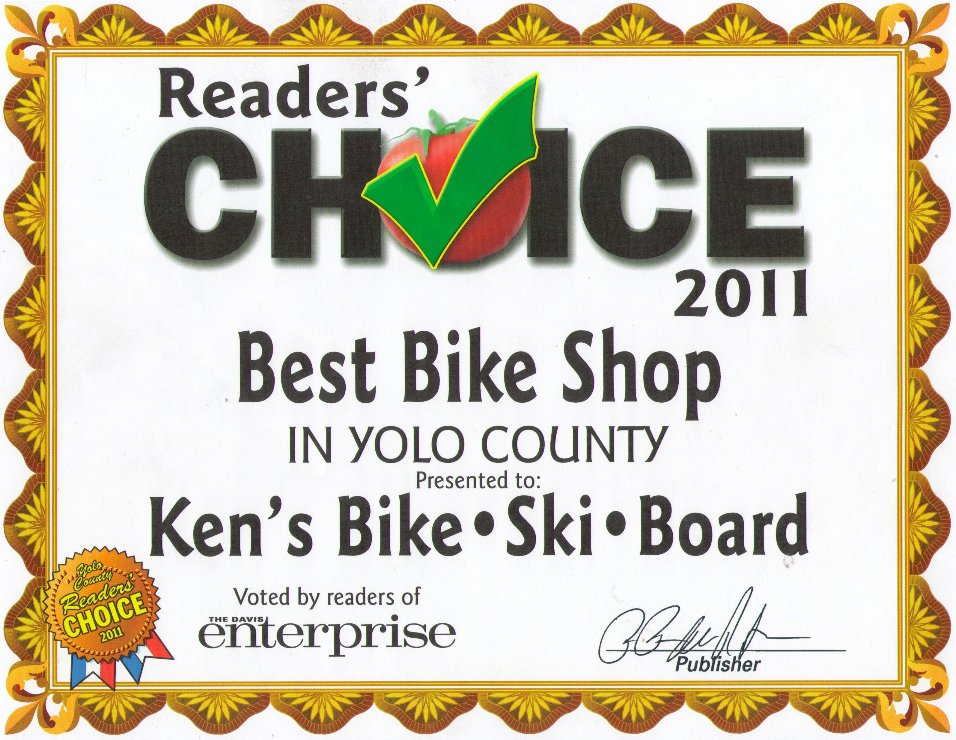 Best Bicycle Shop in Yolo County - 2011