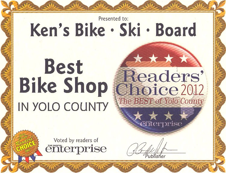 Best Bicycle Shop in Yolo County - 2012