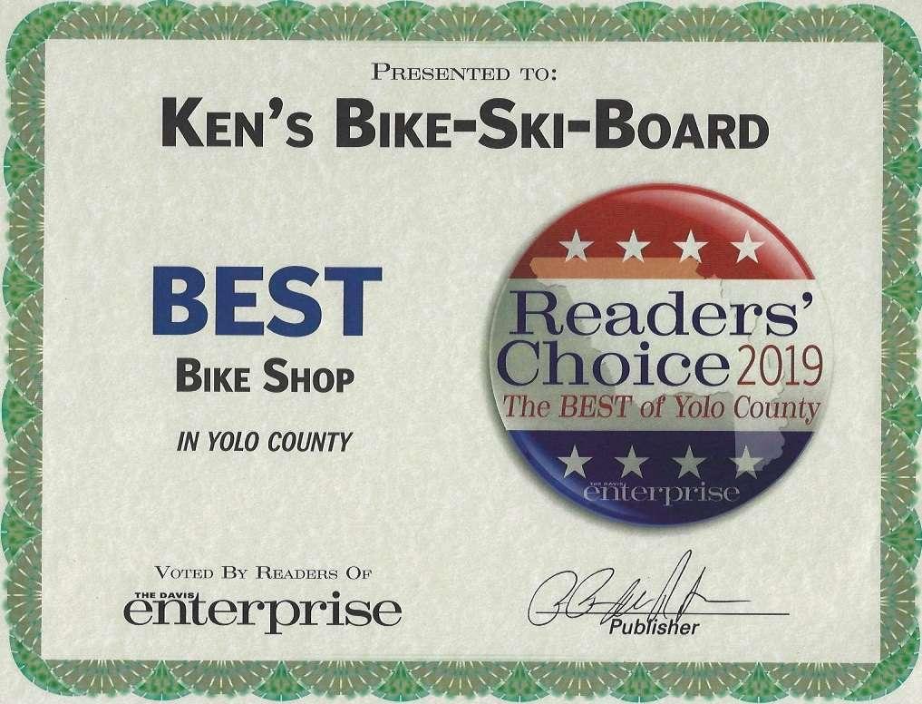Best Bike Shop in Yolo County certificate