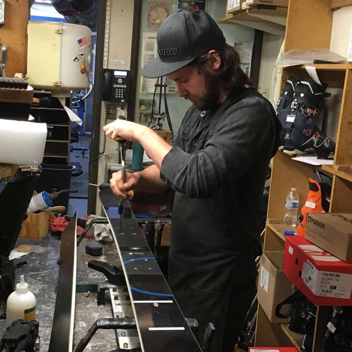 Ski Technician tuning skis