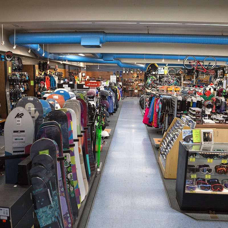 View of the snow sports products in the store