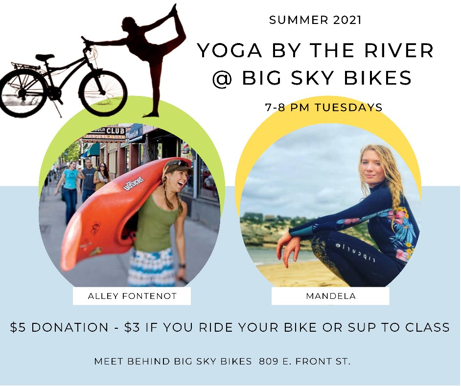 Yoga by the river at Big Sky Bikes