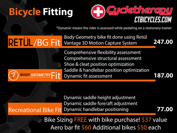 Bicycle Fitting packages: Retul/BG Fit, Body Geometry and Recreational