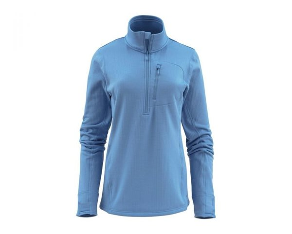 Simms Women's Fleece Mid-Layer Half Zip Color: Sky Blue