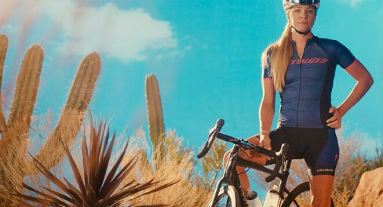 Woman on a Specialized road bike