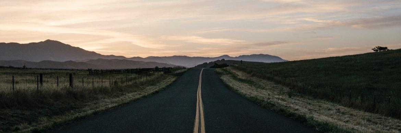 road ride at sunrise