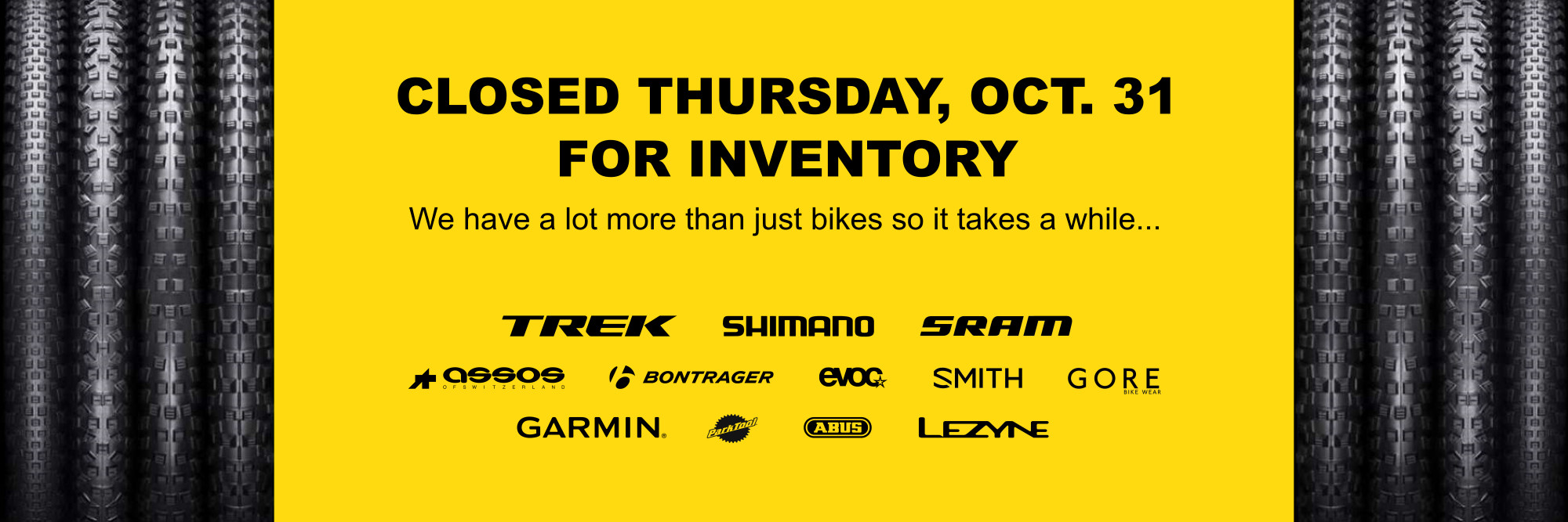 CLOSED for inventory Thursday, Oct 31