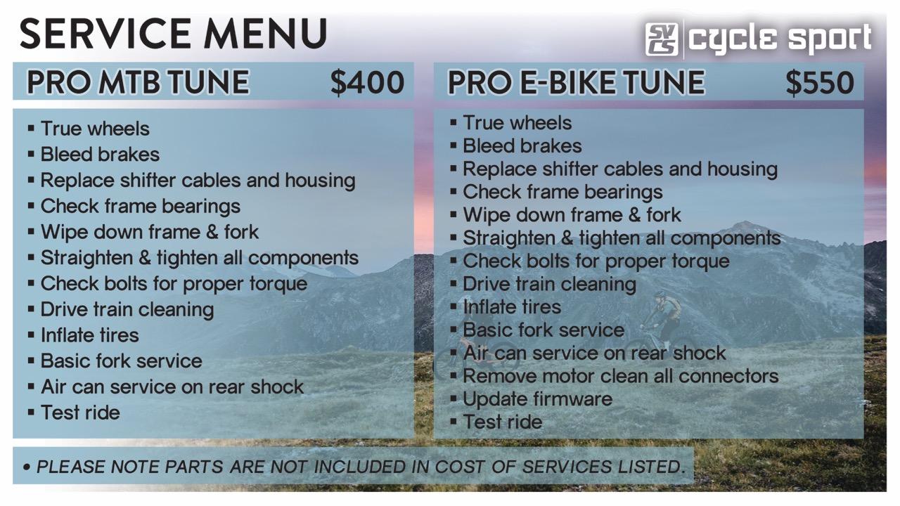 Pro MTB Tune and Pro E-Bike Tune