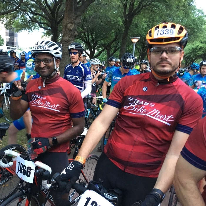 Team Bike Mart Members Posing at startline