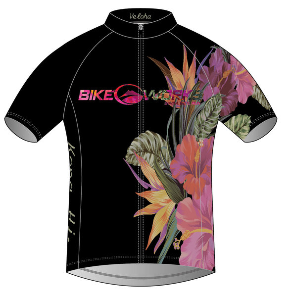 Bike Works Black Flower Cycling Jersey