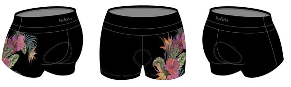 Bike Works Black Flower Tri Short
