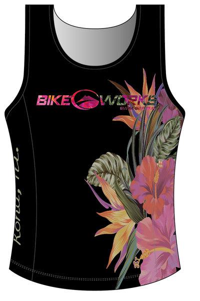 Bike Works Black Flower Tri Singlet