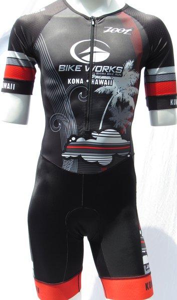 Bike Works Mens Black Tri Short Sleeve Racesuit
