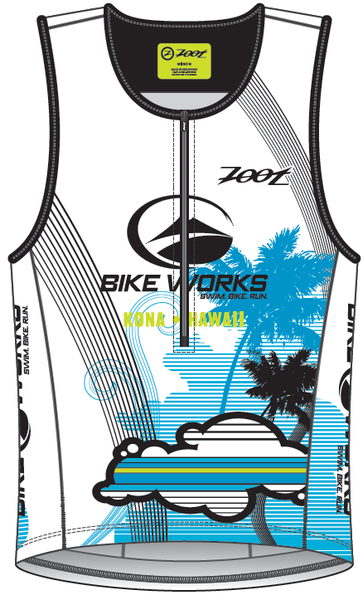 Bike Works Mens White Cloud Tri Tank