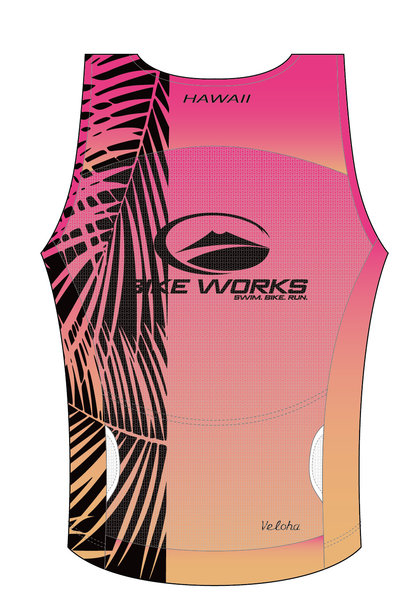 Bike Works Pink Palm Tri Singlet