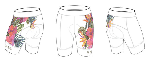 Bike Works White Flower Cycling Short