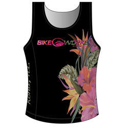 Bike Works Black Flower Tri Singlet