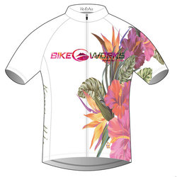 Bike Works White Flower Cycling Jersey