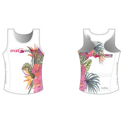 Bike Works White Flower Tri Singlet