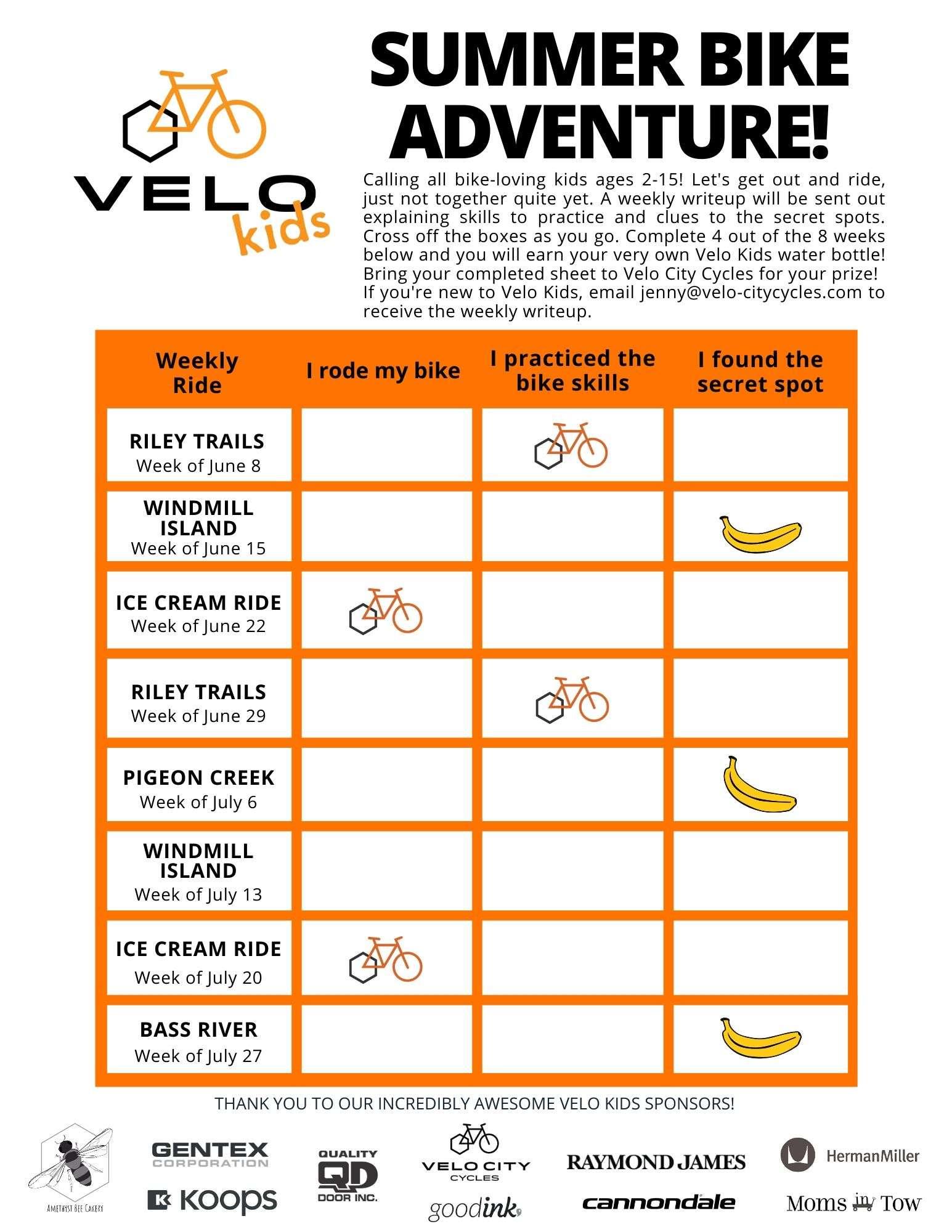 Summer Bike Adventure Weekly Ride Sheet