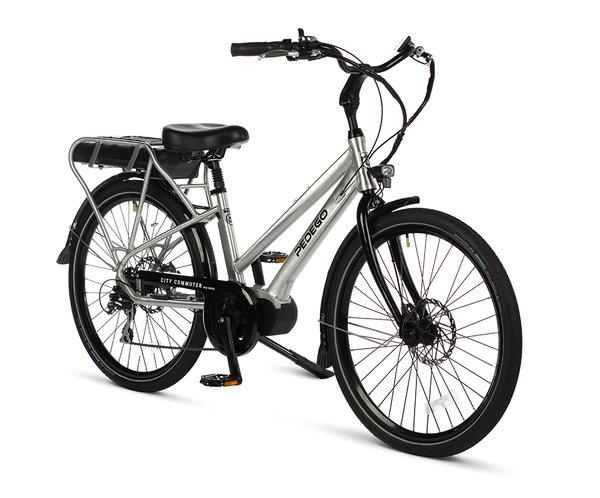 "Pedego 26"" City Commuter MID DRIVE Step Thru Brushed Aluminum w/ Black Rims"