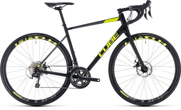 Cube Attain Race Disc Tiagra Road Bike Black/Yellow 50cm