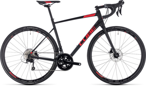 Cube Attain SL Disc 105 Road Bike Black/Red 50cm