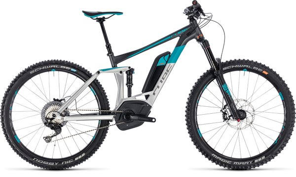 Cube Stereo Hybrid 160 Race 500 27.5 Electric Full Suspension MTB Raw/Black/Blue