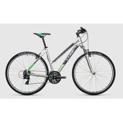 Cube Curve Step-Thru Mountain Hybrid Silver/Green 50cm