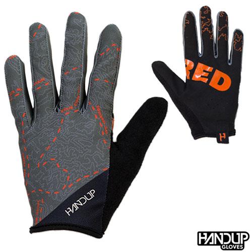 Handup Gloves Shred - Pisgah Trail Topo Map - Grey/Orange