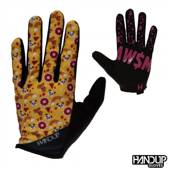 Handup Gloves Super Awesome - Panda Pizza Party - Yellow/Pink