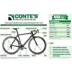 Conte's 3 Year New Bike Protection Plan - (Must be purchased with bike. Use retail price before any discounts for closeout or sale)
