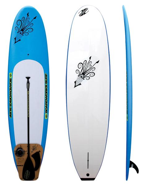 Boardworks 9' SDKP Squid Package - Blue/White w/ Paddle & Leash