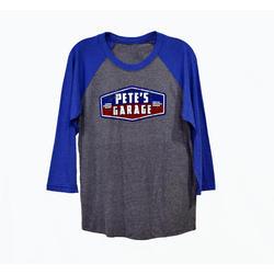 Pete's Garage Raglan T-Shirt - Blue
