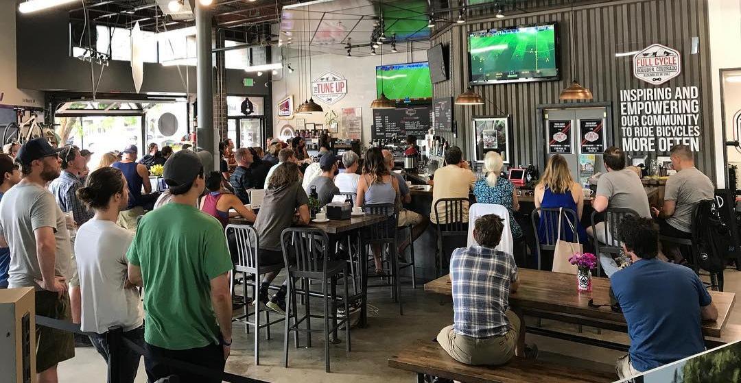 The taproom full of soccer fans