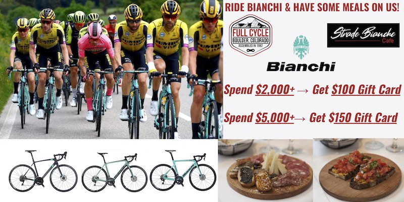 Ride Bianchi and have some meals on us