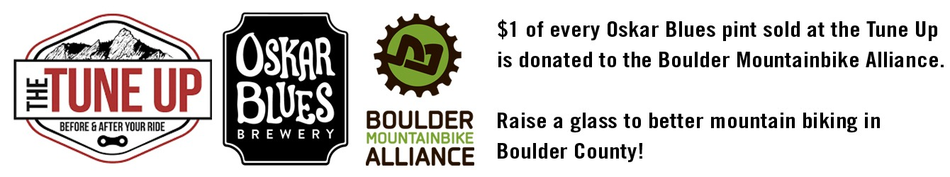 $1 of every Oskar Blues pint sold is donated to the Boulder Mountain Bike Alliance