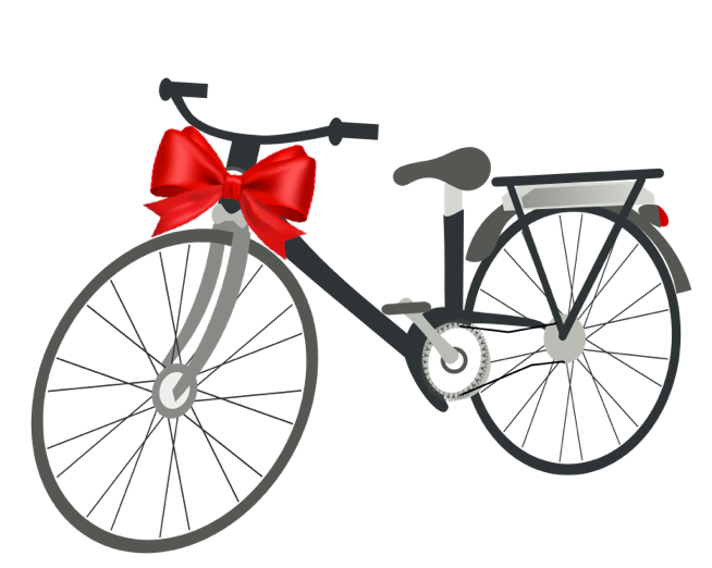bike with red bow
