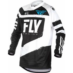 FLY Racing F-16 JERSEY BLACK/WHITE YOUTH LARGE
