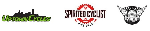 Logos for: Uptown Cycles | Spirited Cyclist | First Flight Bicycles