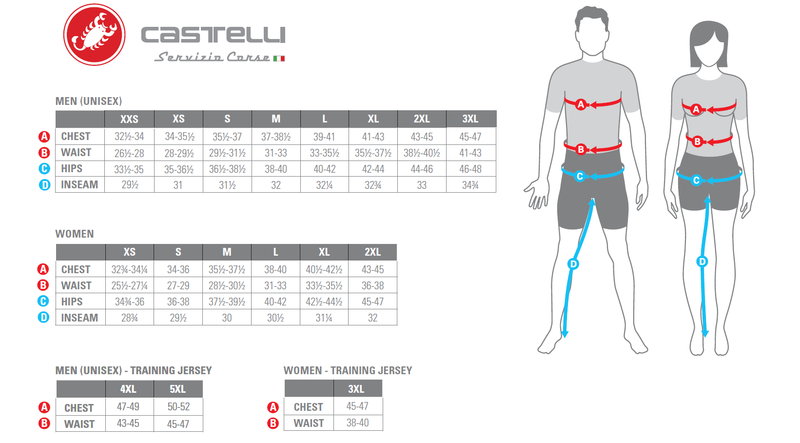 Castelli Mens Sizing Chart