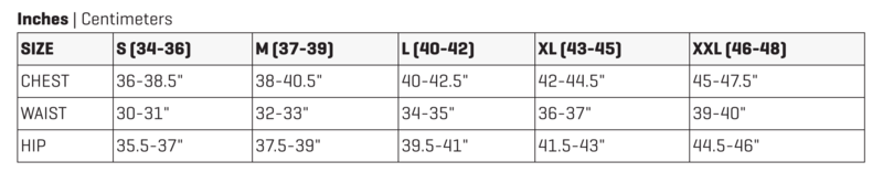 Dakine Men's Sizing Chart