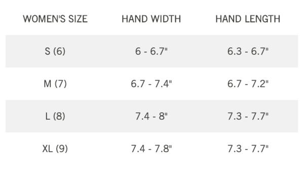 Giro Glove Womens Size Chart