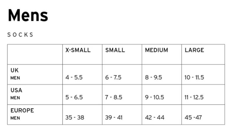 Mons Royale Mens Sock Size Chart