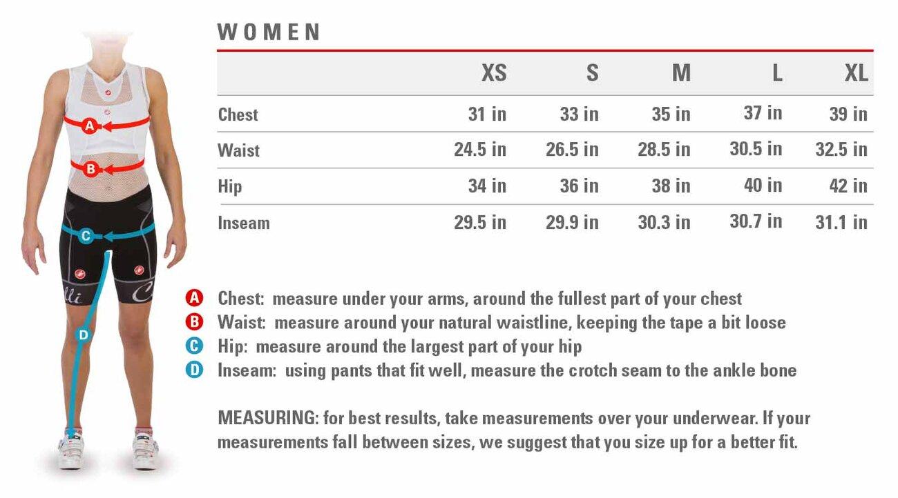 Castelli Womens Size Chart