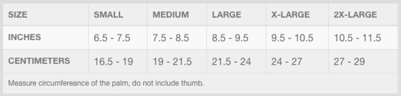 Troy Lee Designs Gloves Size Chart