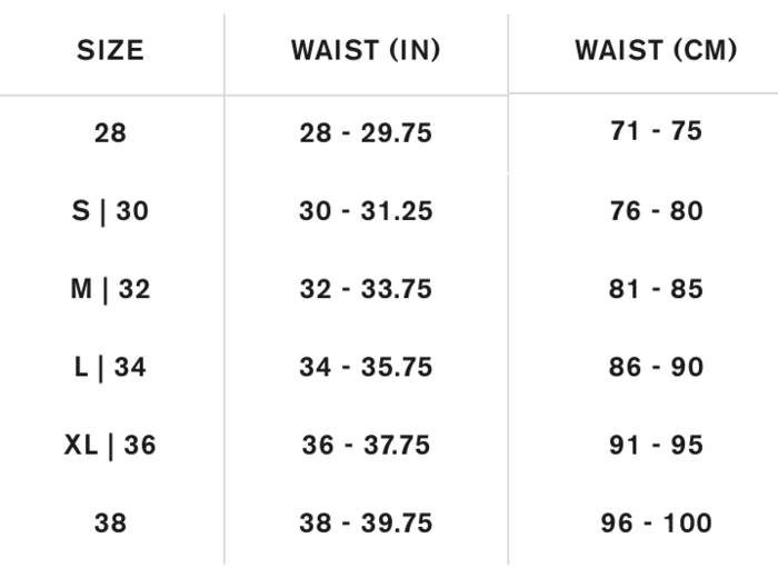 Chome Mens Pant Size Chart