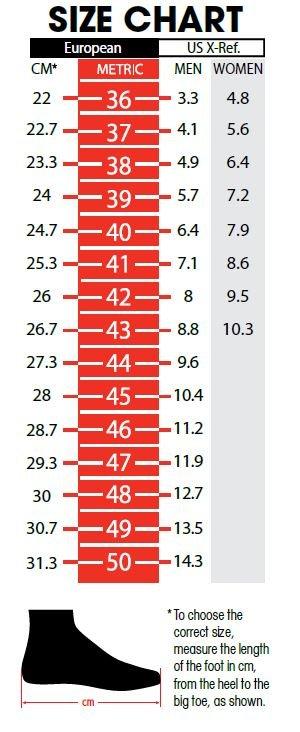 SIDI Shoe Size Chart
