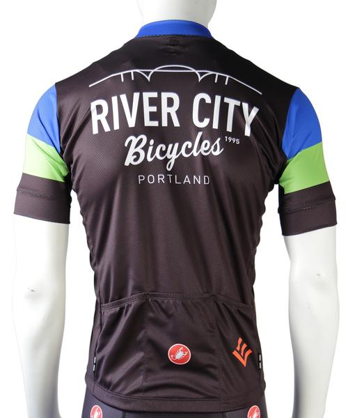 River City Bicycles RCB Castelli Blue/Green/Black Jersey, SS